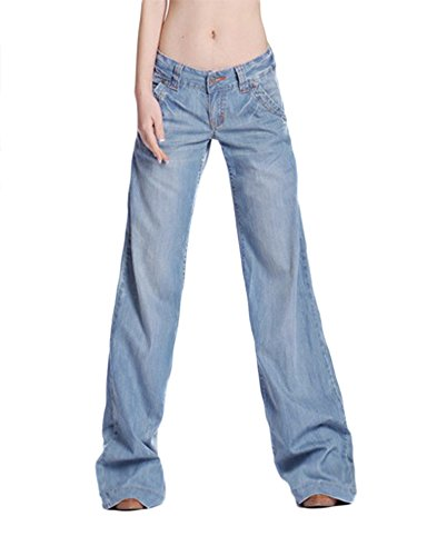 AvaCostume Women's Classic Washed Blue Wide Leg Bootcut Palazzo Jean Pants, 12
