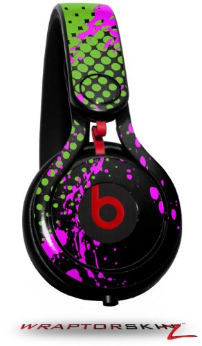 Halftone Splatter Hot Pink Green Decal Style Skin (Fits Genuine Beats Mixr Headphones - Headphones Not Included)