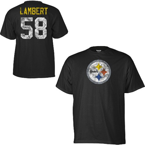 Mens Pittsburgh Steelers #58 Jack Lambert Black Vintage Name and Number Tshirt - M