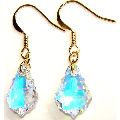 14K Gold Plated Swarovski Crystal AB Earrings Arts, Crafts & Sewing