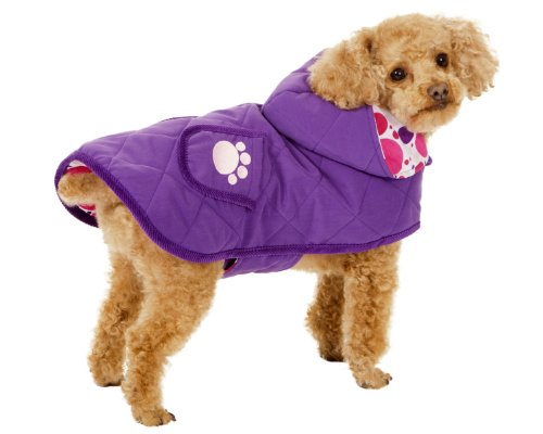 Fashion Pet Blanket Coat for Dogs, Purple Quilted Paw, Medium