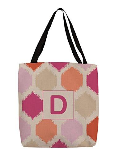 Thumbprintz Shopping Tote Bag, 18-Inch, Monogrammed Letter D, Pink Batik front-769340