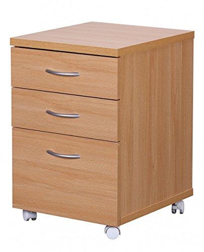 FineBuy-DOCK-Rollcontainer-fr-Schreibtisch-Arbeitsplatz-mit-Rollen-mit-3-Schubladen-Rollwagen-Holz-Buche-Schubladencontainer-Bro-Mbel-60cm-hoch-48cm-breit-40cm-tief-Standcontainer