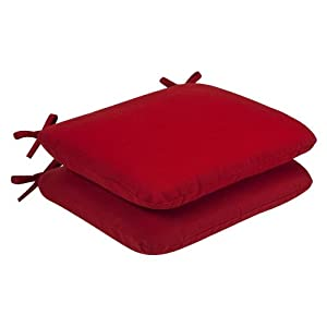 Pillow Perfect Indoor/Outdoor Red Solid Seat Cushion Rounded, 2-Pack by Pillow Perfect