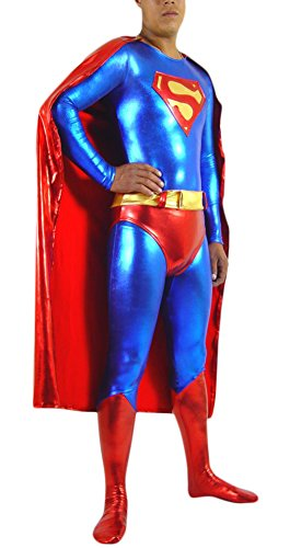 [Adult Halloween Deluxe 1:1 Zentai Tights Superman Costume Jumpsuits (M)] (Plus Size Deluxe Superman Costumes)
