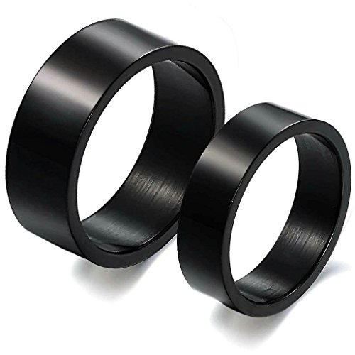 Gnzoe Jewelry, Stainless Steel Wedding Bands Black Wide 6MM Ring Size 7 Ring For Women