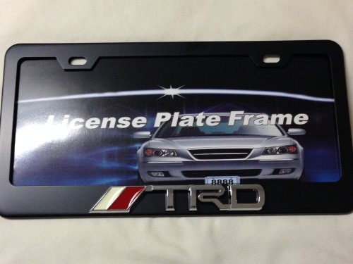 TRD Black Chrome Metal License Frame with screw caps included (Black Trd License Plate Frame compare prices)