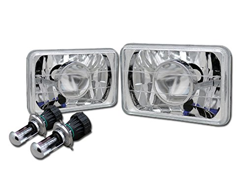 8000K Hid Bi-Xenon+7X6 Chrome Projector Headlights H4 For Honda Mazda Toyota Ta