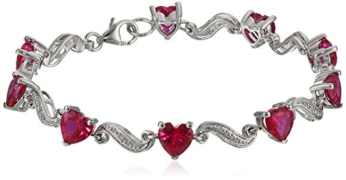 St Silver Created Ruby & Diamond Heart Wave Bracelet