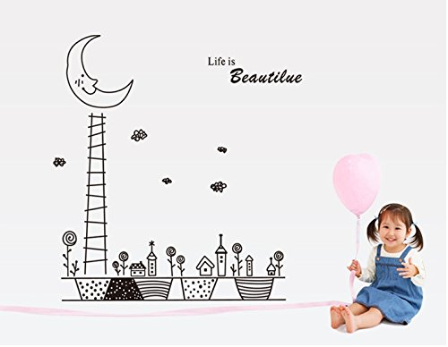 Apexshell (Tm) Hand-Drawn Style Life Is Beautiful Flowers Under The Moon Removable High Quality Diy Decorate Wall Decal Sticker Decor For Kids, Home, Nursery Room, For Children'S Bedroom front-494715