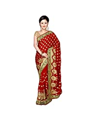 Indian Authentic Maroon Colored Embroidered Faux Georgette Saree By Triveni
