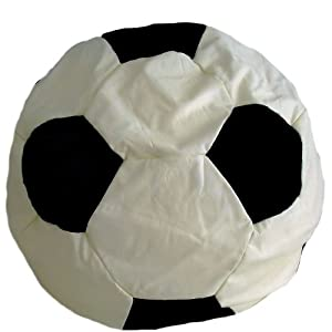 Faux Leather Black & Cream Football Bean Bag with Beans Large 6 cuft
