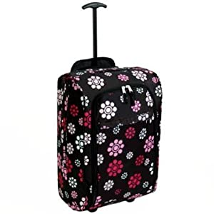 Karabar Super Lightweight Cabin Approved Wheeled Bag Daisy Black