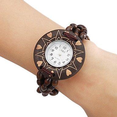 Fenkoo Legno analogico al quarzo orologio da polso da donna (marrone)