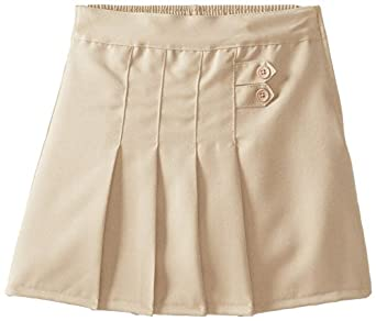 (4717) Genuine School Uniforms Girls 2 Tab Pleated Scooter Skort (Sizes 4-16) in Khaki Size: 7