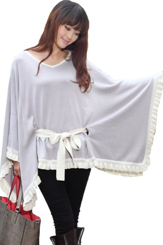 Sweet Mommy Organic Cotton 100% Knit Frill And Ribbon Poncho Cape Grwh