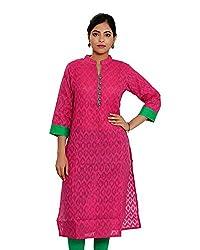 JPF Kurtis Women's Cotton Straight Kurtas(D-01212_42_Pink, Pink, 42)