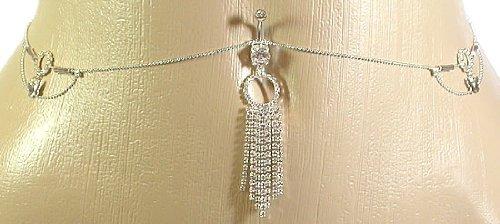 Belly Button Ring Navel Rhinestone Body Jewelry Dangle Waist Chain 14 Gauge