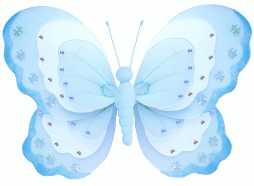 "Hanging Butterfly 10"" Medium Blue & White Triple Layered Nylon Butterflies Decorations. Decorate For A Baby Nursery Bedroom, Girls Room Ceiling Wall Decor, Wedding Birthday Party, Bridal Baby Shower, Bathroom. Kids Childrens Butterfly Decoration 3D Art Cr"