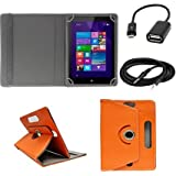 ECellStreet ™ 7 Inch PU Leather Rotating 360° Flip Case Cover With Tablet Stand For Dell Venue 7 3740Tablet - Orange + Free Aux Cable + Free OTG Cable