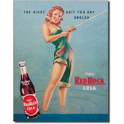 Red Rock Cola Right Bait Girl Fishing Distressed Retro Vintage Tin Sign – 13×16, 13×16