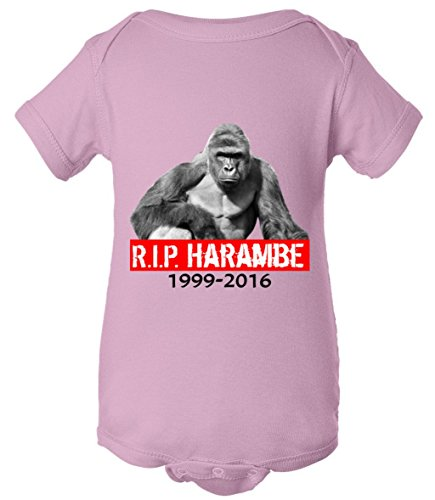 [Baby One Piece: RIP Harambe Rest In Peace Gorilla R.I.P. Tribute Bodysuit pink 12 Months] (Pink Gorilla Suit)
