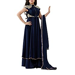 Destiny Enterprise Embroidered Gorgette Navy Blue Color Party Wear Stitched Salwar Suit for Women