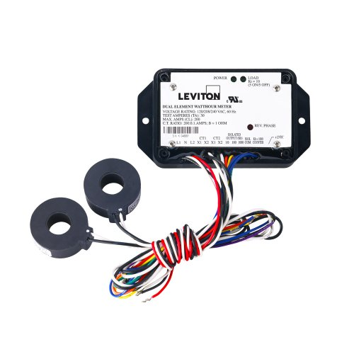 Leviton 5B201-T01 Epoxy Encapsulated Dual Element, Cts Included, 0.1 Kwh And 0.01 Kwh Isolated Outputs And 0.1 Kwh Counter Output, 100:0.1, Black
