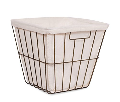 BirdRock Home Office Wire Basket with Liner | Square Opening | Modern Age | Home Storage Bins | Decorative | Metal Frame | Recycle Trash Can (Recycle Can Liner compare prices)