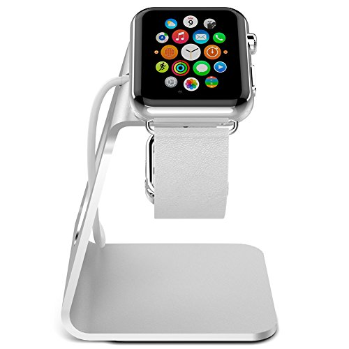 Apple Watch Stand, iFans Aluminium with TPU iWatch Charging Dock Station Platform iWatch Charging Stand Bracket Docking Station Holder for Apple Watch 38/42mm Sport Edition All Model (Silver)
