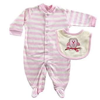 Hudson Baby Touched by Nature Organic Sleep N Play & Bib, Pink, 6-9 months