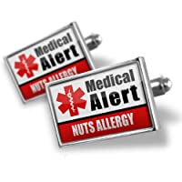 "Neonblond Cufflinks Medical Alert Red ""Nuts Allergy"" - cuff links for man from NEONBLOND Jewelry & Accessories"