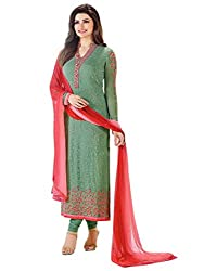 Snapyshopy Exclusive Green Colored Cotton Embroidered Straigth Salwar Kameez