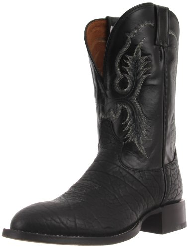 Tony Lama Boots Men's Bullhide CT2036 Boot,Black Bullhide/Black Kid,10 D US