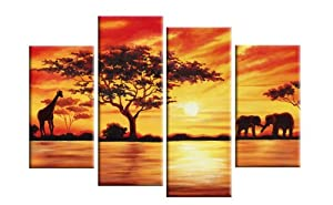 "Large Africa Red Toned Landscape Canvas Picture 4 pieces multi panel split canvas completely ready to hang hanging cord attached, hanging template included for easy hanging, UK company 40"" width 28"" height (101 x 71 cm) from CANVAS INTERIORS"