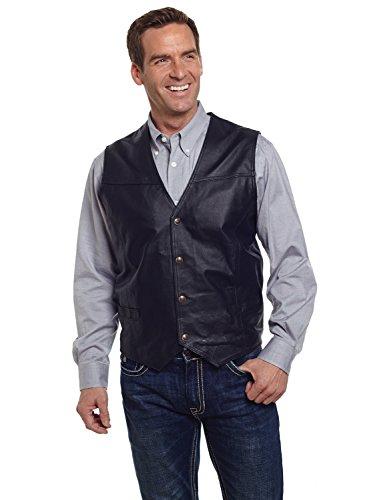 Cripple Creek 4XL Mens Black Boar Nappa Leather Western Big Snap Front Vest