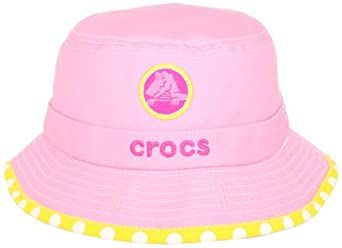 Crocs Girls 2-6X Girls Reversible Bucket Cap, Pink/Yellow Dot, Medium