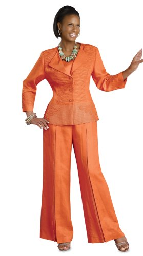 Lovely Ladies Linen Pant Church Suit in Orange by Donna Vinci 11194