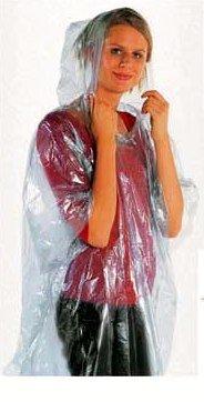 2 Stück knielange Notfall Regenmantel mit Kapuze, Regenponcho, Regencap Fahrradmantel Regenjacke von M&H