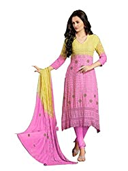 Isha Enterprise Women's Chiffon Dress Material(KFD210-1599_Pink , Cream)
