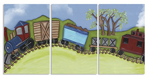 The Kids Room by Stupell Choo Choo Train Travelling on Hillside 3-Pc Rectangle Wall Plaque Set