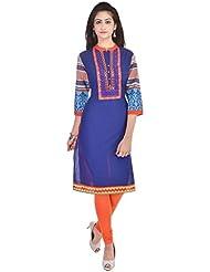 COLOUR CLUSTER Women's Cotton Printed Kurti In Blue&Orange Colour