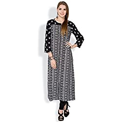 Vishudh Women's Straight Kurta (VNKU004205_Black_M)