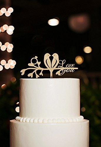 KitchenforUs Love Birds Rustic Wedding Cake Topper with Love You Phrase Romantic Cake Topper