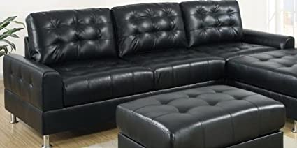 2 pc II Reversible Black bonded leather sectional sofa with chaise lounge with chrome legs and tufted back and seats