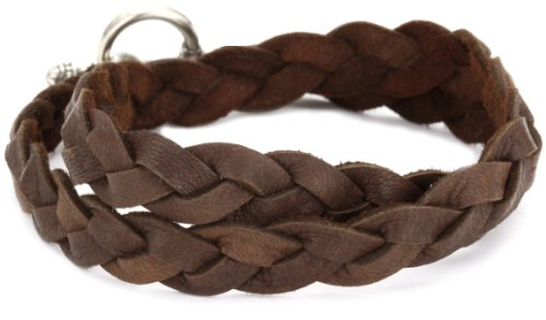 Ettika Men's Silver Colored Brown Braided Deerskin