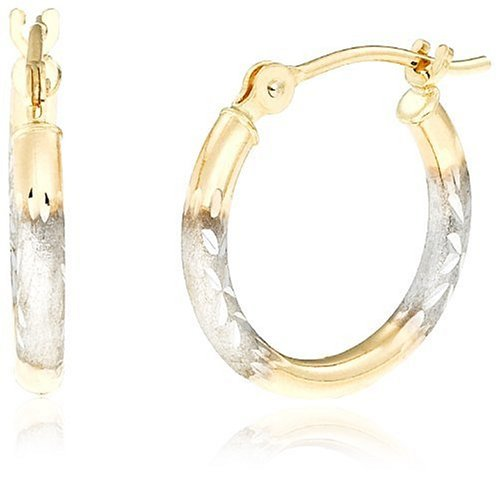 Duragold 14k Two-Tone White and Yellow Gold Hoop Earrings