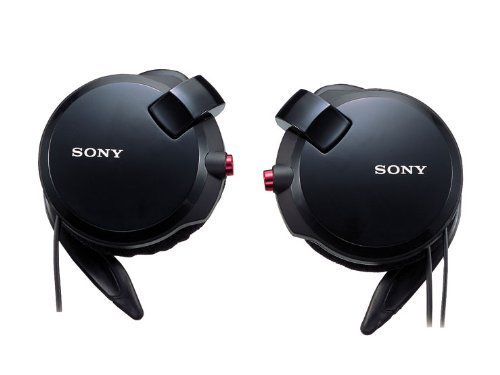 Sony Clip-On Stereo Headphones With Double Retractable Cord | Mdr-Q68Lw B Black (Japanese Imports)