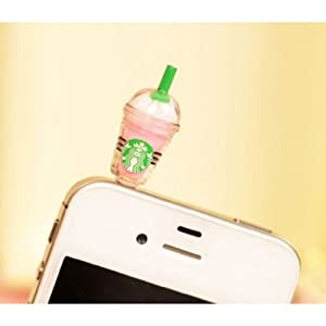 SODIAL Hot New Starbucks Coffee Style 3.5mm Headphone Anti-dust Plug Cap for iPhone 4 4S Samsung Galaxy HTC LG - Pink Color