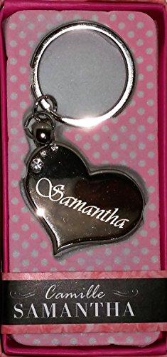 SAMANTHA Namens Herz Silber Metall Schlüsselanhänger mit Gravur und Swarovski-Kristall, in Geschenkverpackung, benannt. SAMANTHA Effectz von Sterling
